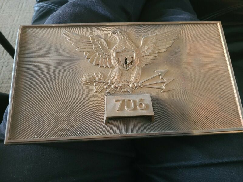 ANTIQUE SOLID BRONZE FEDERAL EAGLE MAIL DROP DOOR Patented 1892