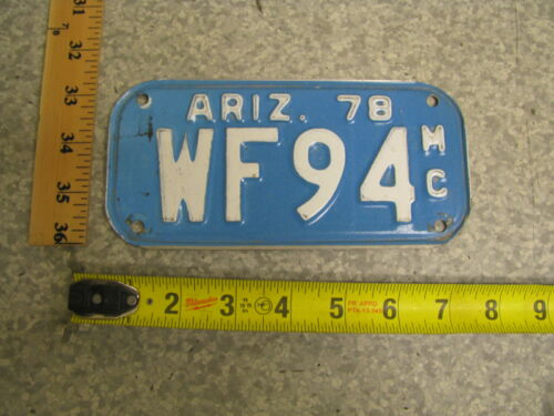 1978 78 ARIZONA AZ MOTORCYCLE LICENSE PLATE #WF94