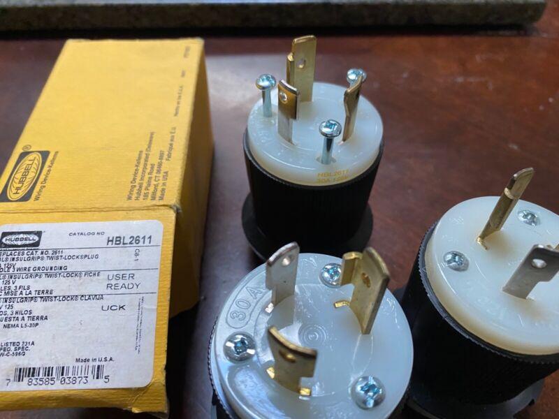 HUBBELL HBL2611 PLUG, 30A 125V NEMA L5-30P, 2 POLE 3 WIRE, TWIST-LOCK (LOT OF 3)