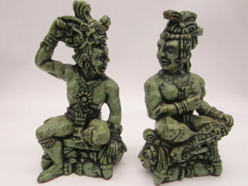 PAIR! Vintage Mayan Aztec Warrior Gods Statue Figurine Sculpture Emerald Green