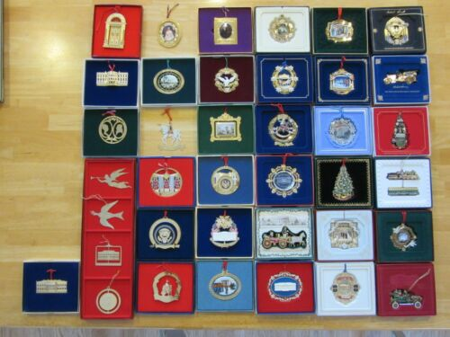 Lot of 38 White House Historical Association Christmas Ornaments 1981-2017