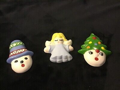 Vintage Hand Painted Ceramic Snowman, Tree, Angel Face Head Christmas Ornaments
