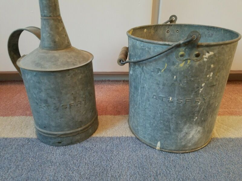 Antique Santa Fe  A.T. & S. F. Railroad Oil can and Bucket.