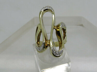 LARGE 14k Yellow Gold Round Diamond Accent Ribbon Swirl Wave Ring Size 6.75 14k Gold Ribbon Ring