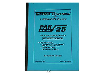 Thermal Dynamics Pakmaster 25 Plasma Cutter 220 Volt Instruction Manual 996