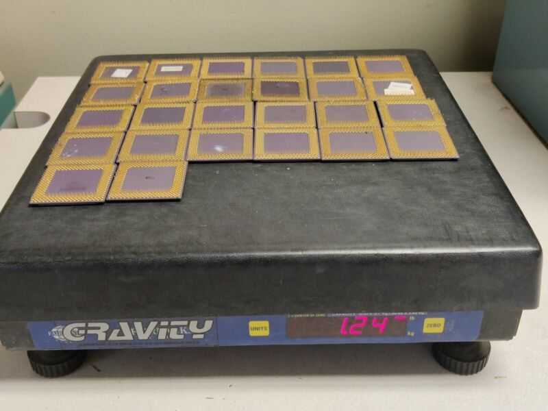 26 AMD Ceramic CPU Processor Gold Recovery about 1.24lb/560g