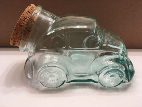 Vintage VW Volkswagen Beetle Bug Glass Cookie Candy Snack Jar w/ Cork Lid - NIB