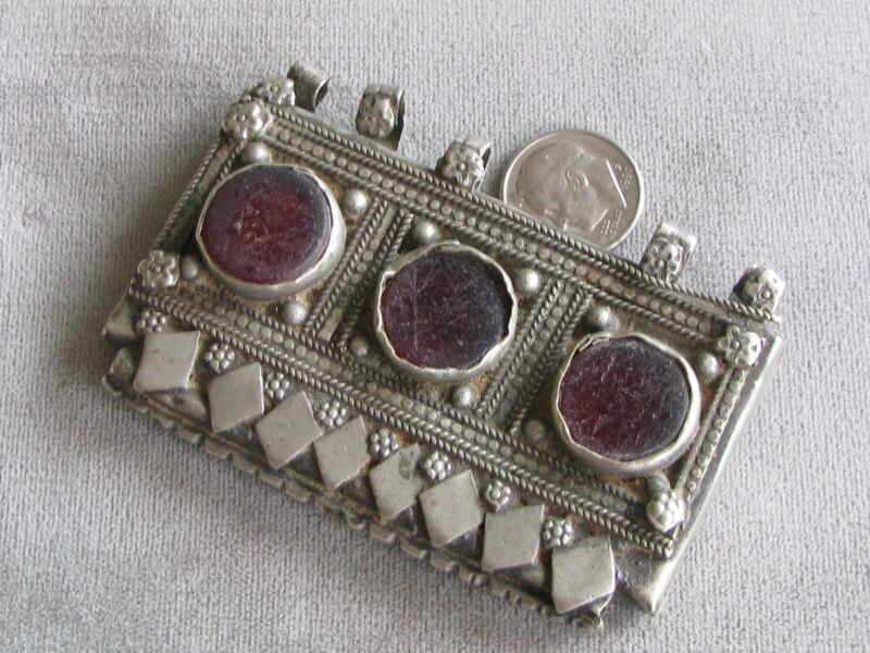 Antique Silver Glass Muslim Prayer Box Pendant