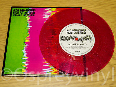 """Ballad of the Mighty pink sparkle New LTD 7"""" single Noel Gallagher Oasis Liam"""