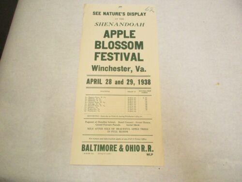 28 April 1938 Shenandoah Apple Blossom Festival Winchester VA B&O RR Poster NOS