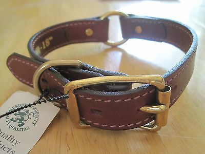 Mendota Leather Hunt Dog Collar Handcrafted in USA Center Safety Ring Chestnut Handcrafted Leather Dog Collar