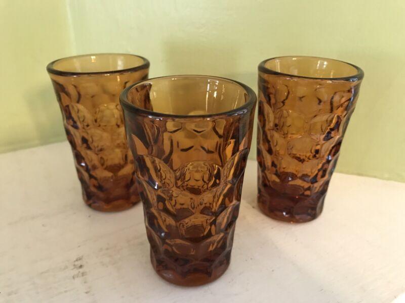 "3 Vintage Imperial Provincial Dark Amber Thumbprint 3oz 3 3/4"" Juice Glasses"