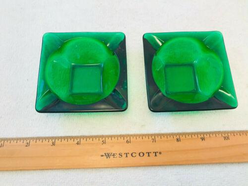 "2 VTG Anchor Hocking Forest Green Glass Ashtrays 3½"" MCM  NICE"