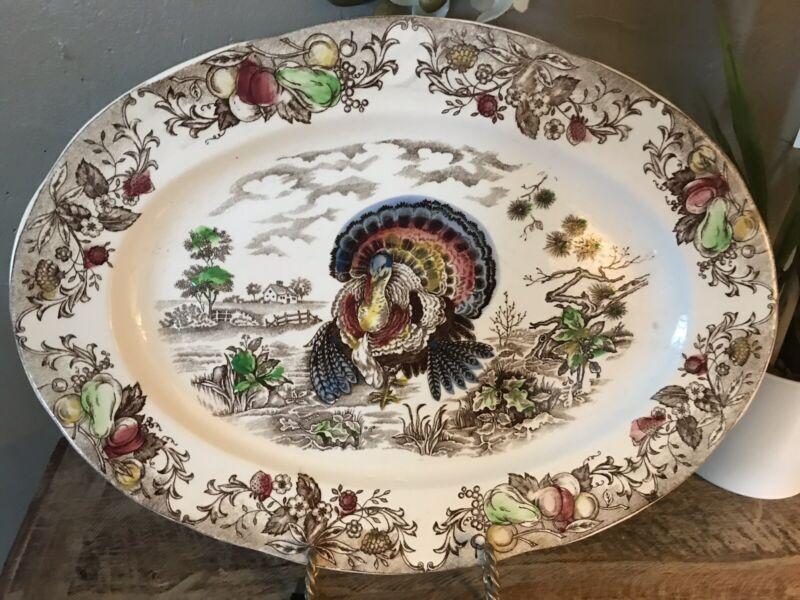 Vintage San Francisco Fred Roberts Co. Thanksgiving Turkey Platter, Japan