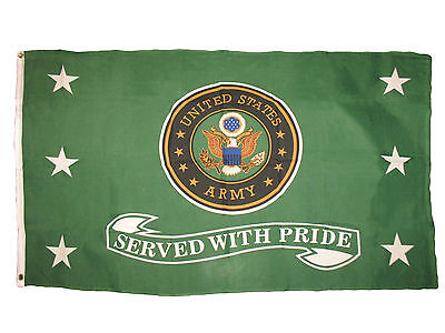 3x5 US Army Green Served With Pride Premium Flag 3'x5' Veteran House Banner