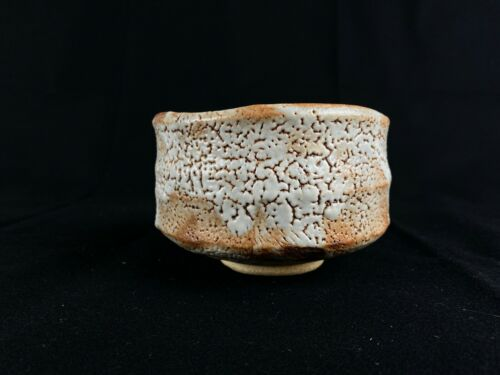 Japanese Antique Tea Ceremony Shino CHAWAN bowl (b454)