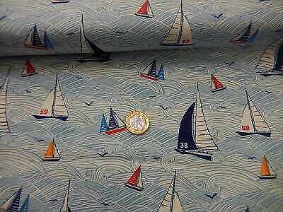 Cotton fabric Makower Sail away seascape nautical half metre yachts 100% cotton