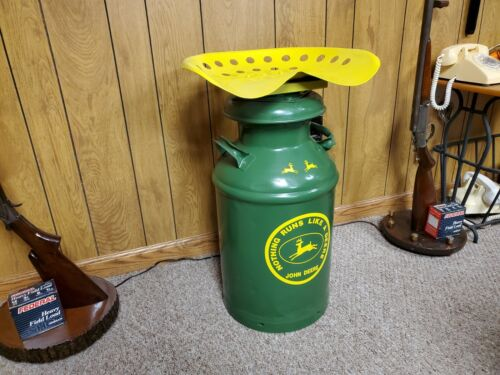VINTAGE DAIRY FARM MILK CAN CONTAINER STOOL WITH TRACTOR SEAT JOHN D. THEME