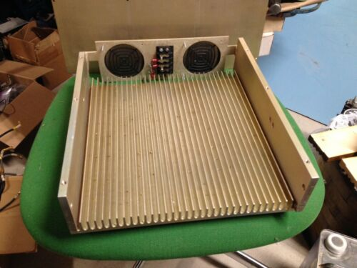 "Large RF Amp Machined Aluminum Heatsink 12"" x 12"" x 1"" irridite plate &fan mount"