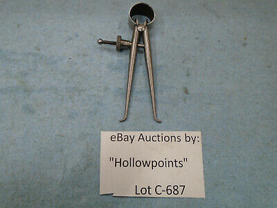 C687 Lufkin 142 Toolmakers 2 Inside Caliper Round Leg Solid Nut For Machinist