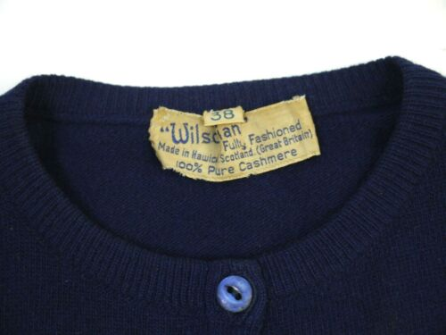 Vintage 40s 50s Cashmere Cardigan Sweater Wilsonian Navy Blue Womens 38