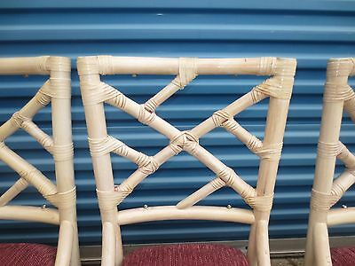 8 Fretwork Bamboo Chair Chinese Chippendale Hollywood Regency Dining Rattan Set
