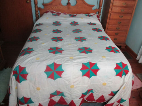 """Vintage Hand Worked Patchwork Quilt Red Aqua Yellow 86"""" x 100"""" long"""