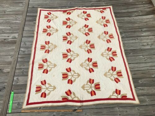 Antique Tulips Applique Quilt  Red Green Cheddar and White