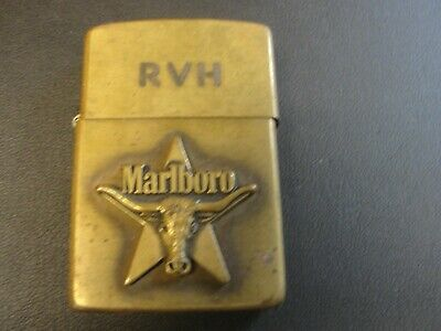 Vintage Marlboro Zippo Advertising Lighter Longhorn Rare Brass
