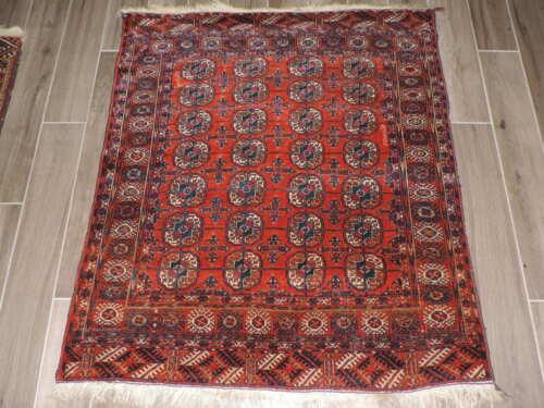 4x4ft. Handmade Tekke Turkoman Bokharra Wool Rug