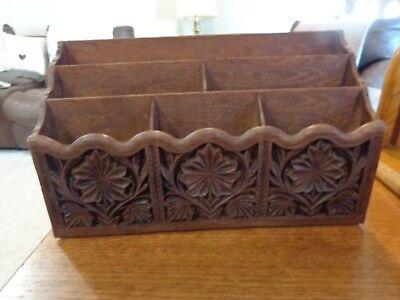 Vintage Lerner Desk Top Organizer Letter Mail Bills Pens Holder Faux Carved Wood