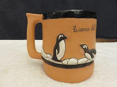 Penguin Coffee Mug Cup Hand Made Clay Ceramic Glaze C. Krenn Del Fuego Argentina