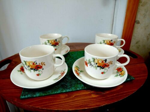 VTG Cups + Saucers #4 Homer Laughlin Olivia Poppy Rose Republic