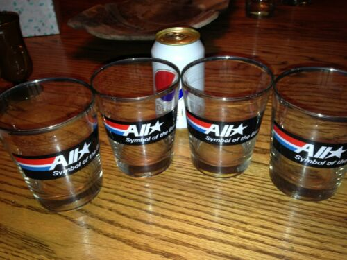 Rare Set of 4 Amoco All Star Drinking Bar Glasses  1980