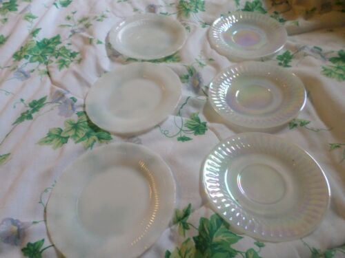 3 Vintage White Iridescent Federal Moonglow Plates, Cup and Saucers 3 usa plates
