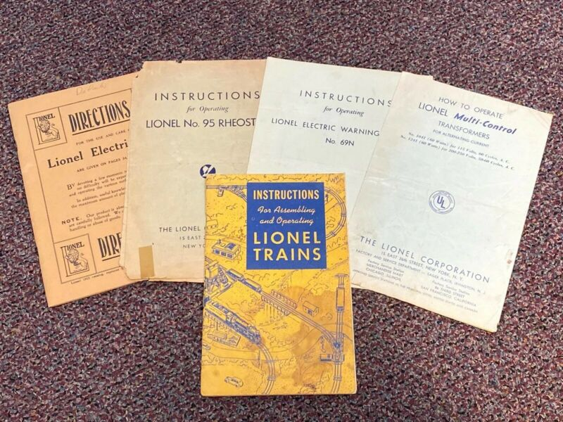 Lot of 5 Vintage Lionel Train Operating Instruction Manuals
