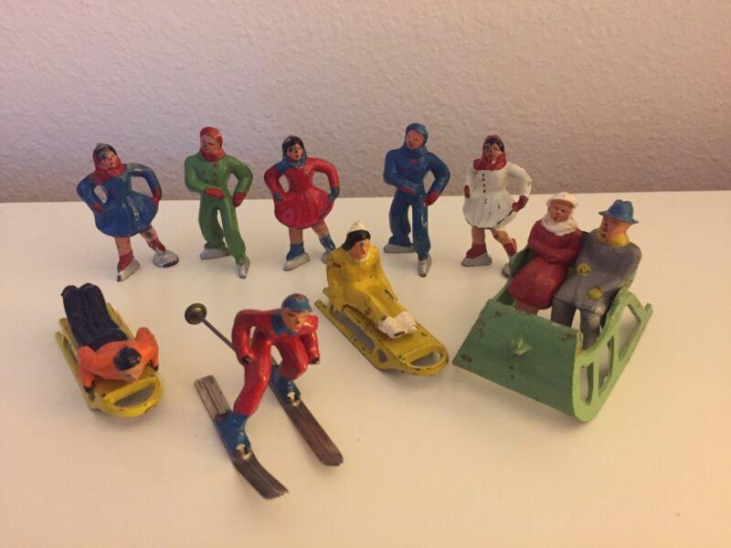 Barclay Winter Scene Figures. Vintage. Used. Lot of Nine.