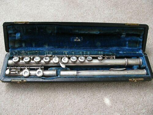 Vtg 1916 US Navy USN William S. Haynes Flute Handmade All Silver Rib Less