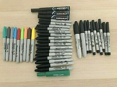 Huge Sharpie Permanent Marker Lot Black Colors 39 Total Markers