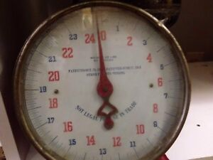Vintage Antique Red Kitchen Scale 25 LB. Shabby Chic.