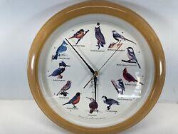 NATIONAL AUDUBON SOCIETY Quartz Singing Bird Clock Oak look 13 1/4'' Used