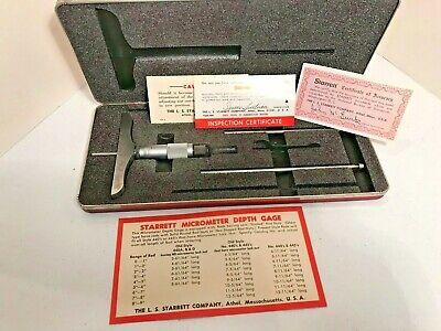 L.s. Starrett Co 445 Depth Micrometer 0-3 In. With Case 4 Base
