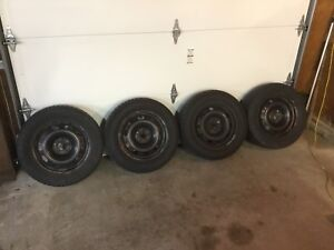 Winter snow tires on steel rims for sale
