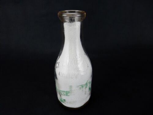 Vintage Glass Quart Milk Bottle, Round, Embossed, Kesselring Dairy, Akron Ohio