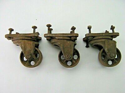 3 Antique Cast Iron 3 14 Diameter Swivel Casters Service Caster Co. 1917