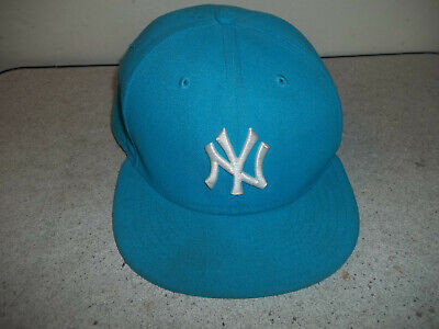 cheaper c1334 1cb03 New Era Sky Blue New York Yankees 59Fifty Fitted Ball Cap size 7 1 8  pre-owned