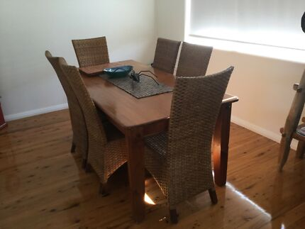Dining Table 6 Cane Chairs