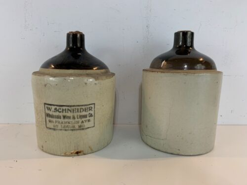 Antique W. Schneider Crock Pair of Two Gallon Stoneware Glazed Whiskey Jugs