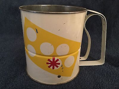 Vintage Androck Metal Sifter Geometric Red Yellow White
