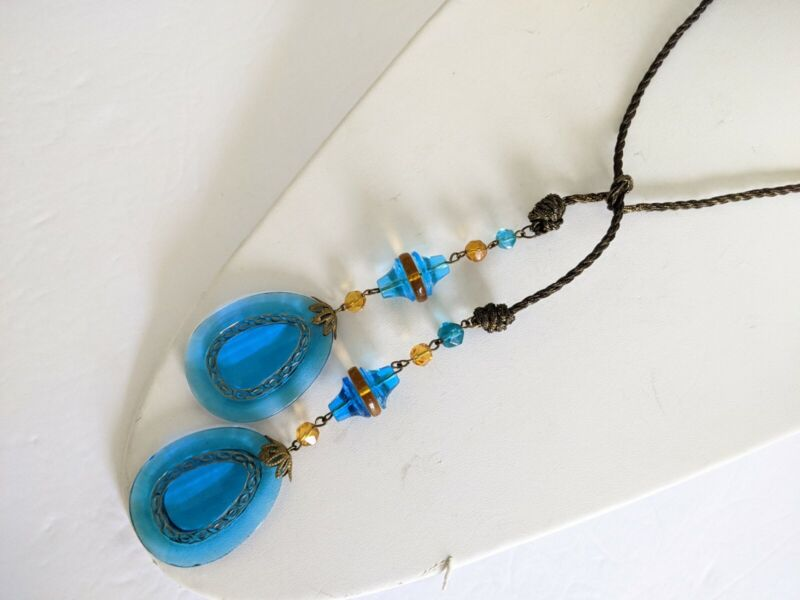 Art Deco Czech / French Mesh Chain Large Faceted Blue Glass Drop Lariat Necklace